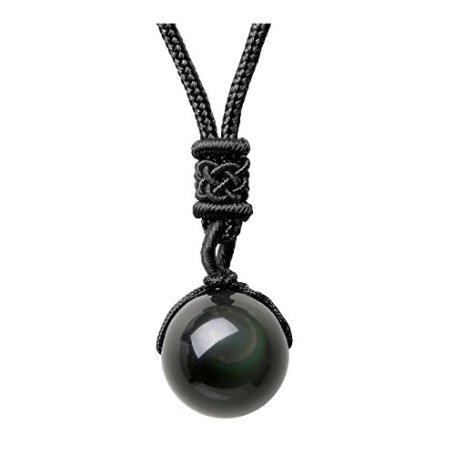Jovivi 16mm Natural Black Obsidian Rainbow Eyes Stone Lucky Blessing Chakra Beads Pendant Necklace Adjustable Braided Rope Cord (Black Rainbow Crystal)