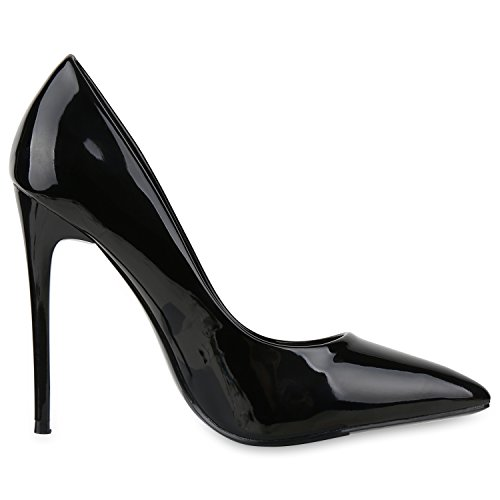Spitze Damen Pumps Stiletto High Heels Lack Metallic Schuhe Partyschuhe Lackleder-Optik Hochzeit Jennika Schwarz Lack