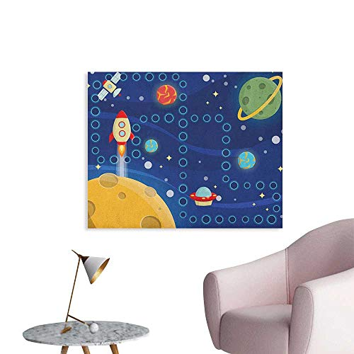Anzhutwelve Kids Activity Painting Post Colorful Space Themed Activity Board Interplanetary Travel Racing in Cosmos Space Poster Multicolor W36 xL24