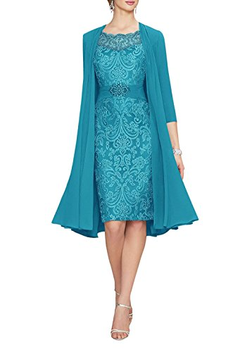 (Women's Tea Length Party Dresses 2 Pieces Chiffon Lace Mother of The Bride Dress with Jacket Turquoise US4)
