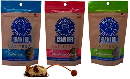 (Buddy Biscuits Grain Free Gluten-Free Soft Moist Cat Treats 3 Flavor Variety with Toy Bundle, (1) Each: Tempting Tuna, Savory Turkey Cheddar, Tender Chicken (3 Ounces))