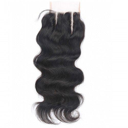 Beata Hair 130% Density Brazilian Body Wave Lace Closure 3 Part 100% Virgin Human Hair Closure with Bleached Knots (08inch)
