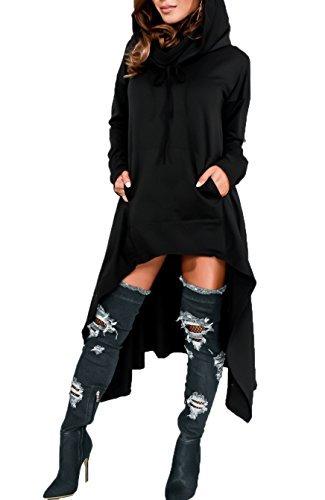 Playworld Womens Irregular Hem Loose Long Sleeve Hooded Tunic Top Dress Black -