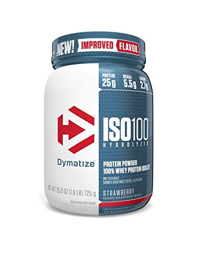 Dymatize ISO 100 Whey Protein Powder with 25g of Hydrolyzed 100% Whey Isolate, Gluten Free, Fast Digesting, Strawberry, 1.6 Pound ()