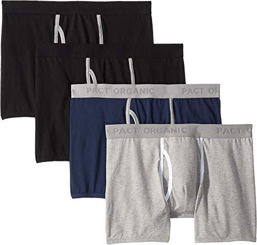 Pact Men's Everyday Boxer Brief 4-Pack Black/Heather Grey/Navy Medium