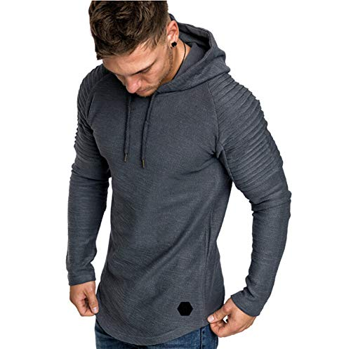 Men's Casual Long Sleeve Solid Colour Fitness Hoodie Pullover Sports Gym Jogger Hooded Sweatshirt Tops Black Hoodie