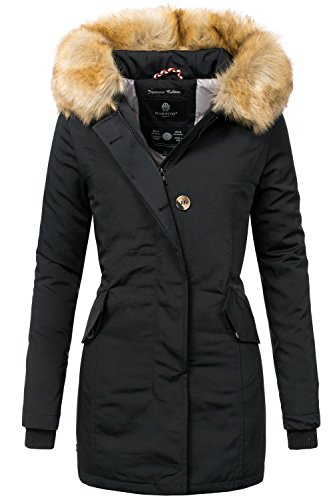 Marikoo Karmaa Abrigo de Invierno para Mujer XS-5XL 15 Colores XS-XXL Negro