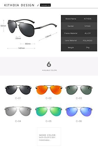 sol gafas Aviador con UV400 la Negro KITHDIA de del de estilo vendimia protección 8wzdYqz