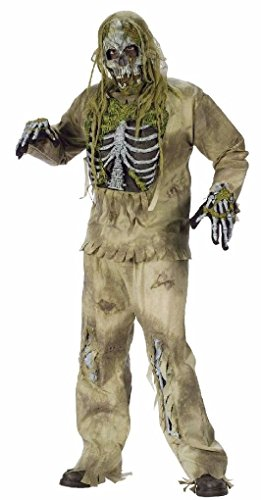 [Ponce Mens Zombie Skeleton Costume 3D Scary Monster DELUXE Ugly] (3d Skeleton Zombie Costumes)