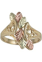 10k Yellow Gold Bypass Ring with Cut Out Scrollwork and Cascading 12k Green and Rose Gold Hand Sculpted Leaves, Sizes 4, 4.5, 5, 5.5, 6, 6.5, 7, 7.5, 8, 8.5, 9