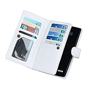 Fabcov Packing White Multifunction 9 Card Slots Leather Wallet Case Cover For LG G4
