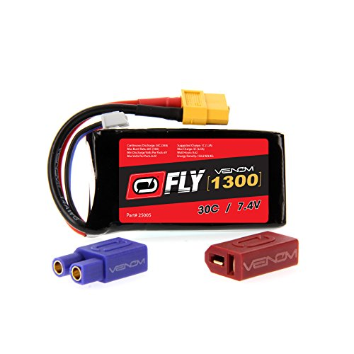 Slow Stick Lipo (GWS Slow Stick EPS400C 30C 2S 1300mAh 7.4V LiPo Battery with UNI 2.0 plug by Venom Compare to E-flite EFLB12502S)