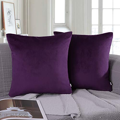 Price comparison product image Ashler Pack of 2 Soft Velvet Decorative Throw Pillow Cushion Cover Sets Purple 18 X 18 inch 45 X 45 cm