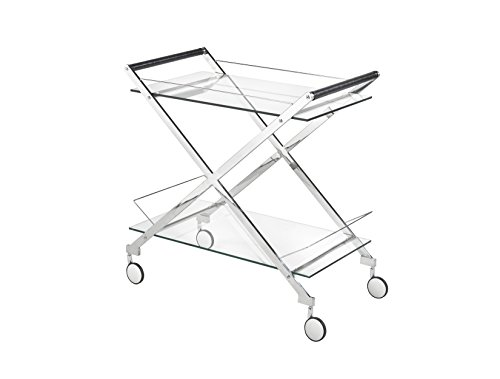 Uptown Club GM1980 Ivy Collection Modern Bar Cart with Two Tiers, Caster Wheels and Criss Cross Design With Glass Top, Silver/Glass (Bar And Furniture Club)