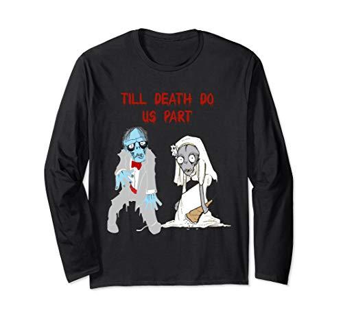 Zombie Bride Groom Hallowedding Halloween Wedding Costume Long Sleeve T-Shirt]()