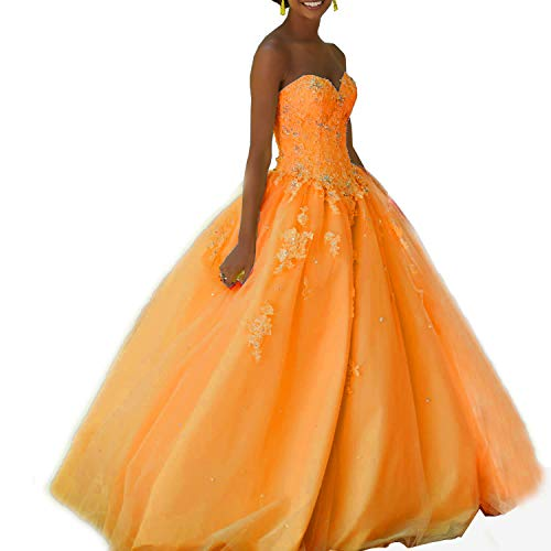 Appliqued Chapel Train - Meledy Women's Beaded Appliqued Quinceanera Dress Sweetheart Birthday Ball Gown Lace Evening Dress Orange US14