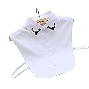 SDS Ladys Half-Shirt Detachable Fake Collar Deer White Collars Deer White US 4-10