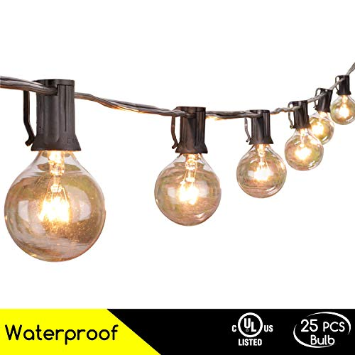 Brightown 50Foot G40 Globe Outdoor Patio String Lights UL Listed for Indoor/Outdoor Decor, Black by Brightown