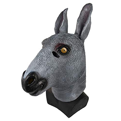 (Novelty Donkey Mask for Adult Realistic Animal Head Face Disguise Halloween Costume Party Cosplay Mask)