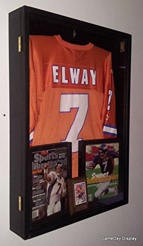 97681527069 Jersey Display Case Jersey Display Frame Jersey Shadow Box Deep with Hinged  Door Black