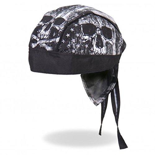 Distressed USA American Patriotic Flag Skull Black Gray Head Wrap Durag (Hot Leathers Wrap)