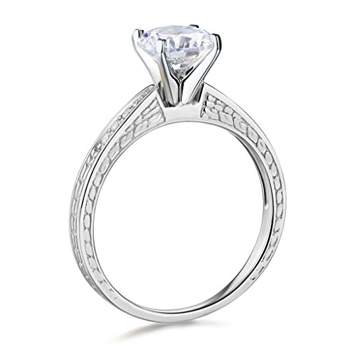 14k White Gold SOLID Wedding Engagement Ring and Wedding Band 2 Piece Set - Size 7 by TWJC (Image #2)
