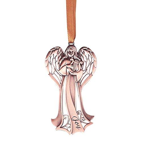 Joy Angel With Harp Antique Copper 2.5 x 3 Zinc Alloy Christmas Ornament