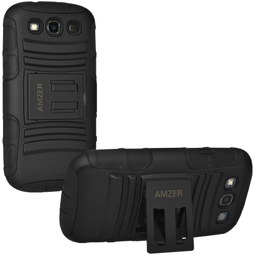Amzer Hybrid Kickstand Case Cover for Samsung Galaxy SIII S3 GT-I9300 (Fit All Carriers)  -  Retail Packaging - Black