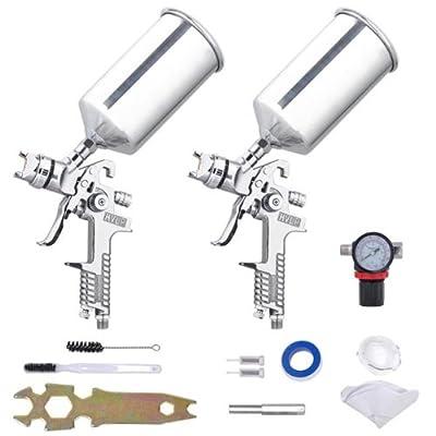 Sliver Spray Gun Kit Paint Gavity Feed 2 Sprayer Hvlp