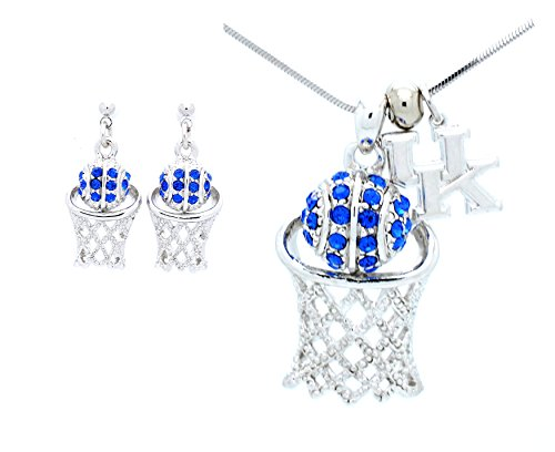 CRYSTAL BASKETBALL HOOP NECKLACE & EARRING SET - BASKETBALL SET - LARGE - KENTUCKY WILDCATS POST