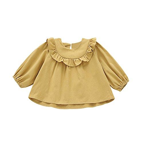 Birdfly Baby Girls Ruffled Romantic Shirt Long Sleeve T-Shirt Tops Toddler Cute Blouse Fall Outfit (Yellow, (Girls Long Sleeve Ruffled Blouse)