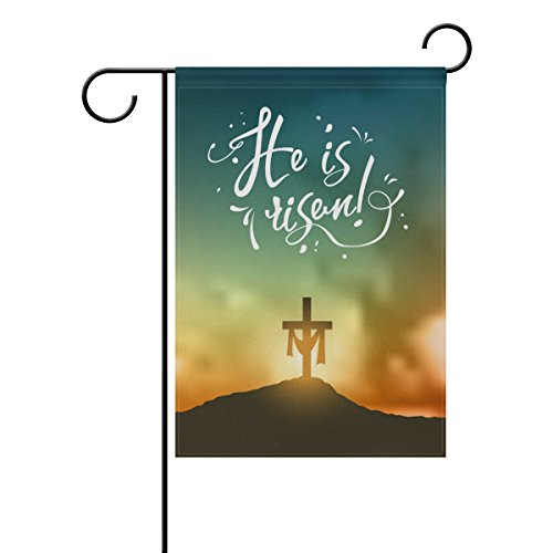 Cross on Sunrise Scene in Mountain Polyester Garden Flag Banner 12 x 18 Inch for Outdoor Home Garden Flower Pot Decor (Happy Easter Cross)