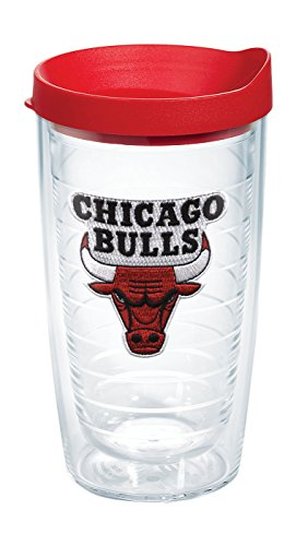 Tervis 1064559 NBA Chicago Bulls Primary Logo Tumbler with Emblem and Red Lid 16oz, Clear by Tervis