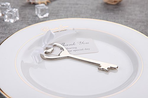 50pcs Wedding Favors Key Bottle Opener with Ribbon Escort Tag Card Thank you for sharing our special day (Key Style #7)