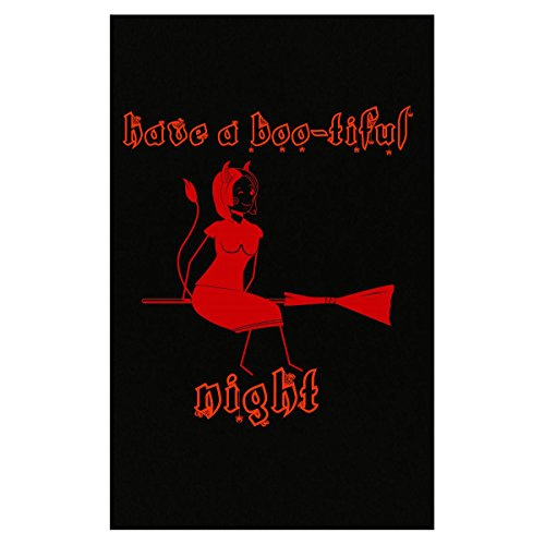 Klarkite Industries Have A Boo-Tiful Night Halloween Red Riding Witch On Broom - Poster ()