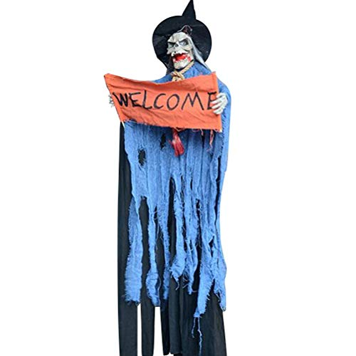 Healifty Ghost Hanging Skull Halloween Haunted House Scary Props Voice Glowing Electric Voice Control Skull Prop Without Battery for Halloween Decor (Blue Skeleton Ghost) -