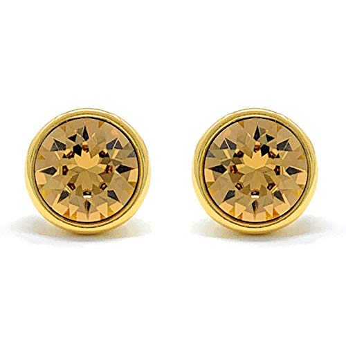 (Ed Heart Harley Stud Earrings with Yellow Brown Light Topaz Round Crystals from Swarovski Gold Plated)
