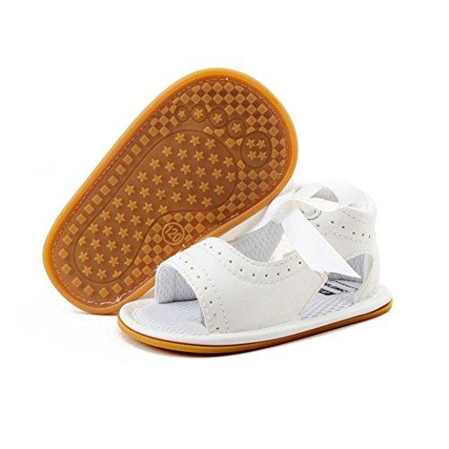 Tefamore Los zapatos de los bebés del bebé recién nacido Sandalias infantiles de los caminantes del niño inferior suave Blanco