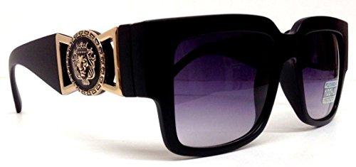 Black Square Gold Lion Head Medallion Square Sunglasses Black Lens (MED-2B) ()