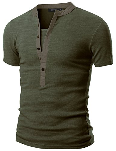 Doublju Mens Casual Henley T-Shirts with Short Sleeve Khaki 3XL