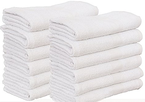 60 Pcs (5 Dozen) white Bath Towel (24''x 48'') Ringspun Cotton for Maximum Softness Easy Care-Home,spa,resort,hotels/Motels,gym use (60) by Gold textiles