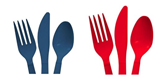 Red & Dark Blue Heavy Duty Plastic Cutlery Sets - 16 Spoons, 16 Forks, 16 Knives - 2 packs of 48 each 96 pcs total - New England (New England Cutlery)