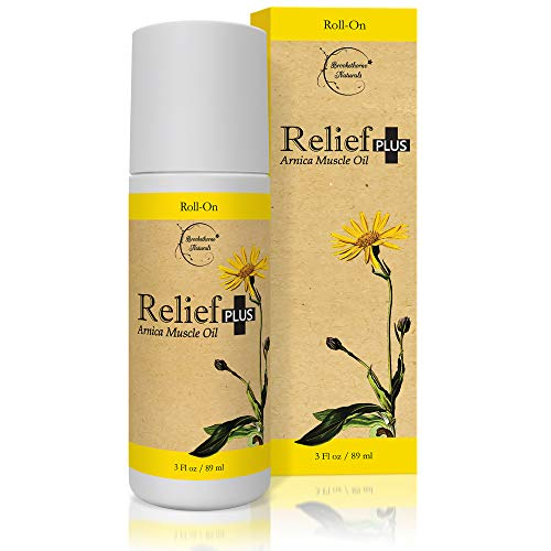 Relief Plus Arnica Muscle Oil - Extra Strength Roll On - Cypress, Eucalyptus & Helichrysum Essential Oils & Menthol. All Natural Remedy for Sore Muscles, Aching Joints by Brookethorne Naturals