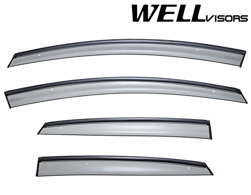 WellVisors Side Window Wind Deflector Visors - Ford Fiesta Sedan 2011 2012 2013 2014 2015 2016 with Black (Ford Fiesta Sedan)