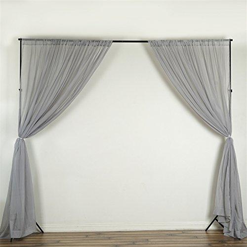 Efavormart 10FT Fire Retardant Silver Sheer Voil Curtain Panel Backdrop - Premium Collection