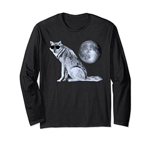 Unisex Cool Wolf With Aviator Sunglasses Under Moon Long Sleeve Tee 2XL - Sunglass Chart Aviator Size