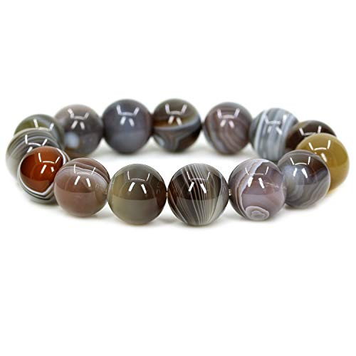(Natural AA Botswana Agate Gemstones Healing Power Elastic Stretch 14mm Beads Beaded Bracelet 7