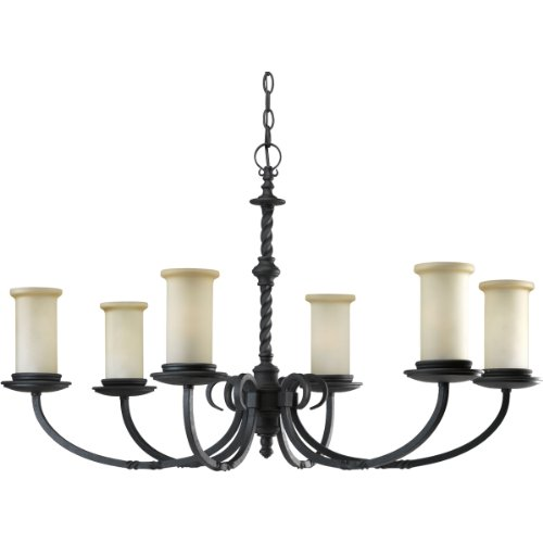 (Progress Lighting P4588-80 6-Light Santiago Chandelier, Forged Black)