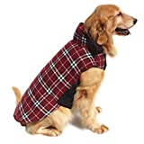Hiado Dog Coat Clothes Easy On with Harness Hole British Style for Winter Cold Weather Chest 38-43 Inch Red XXL For Sale