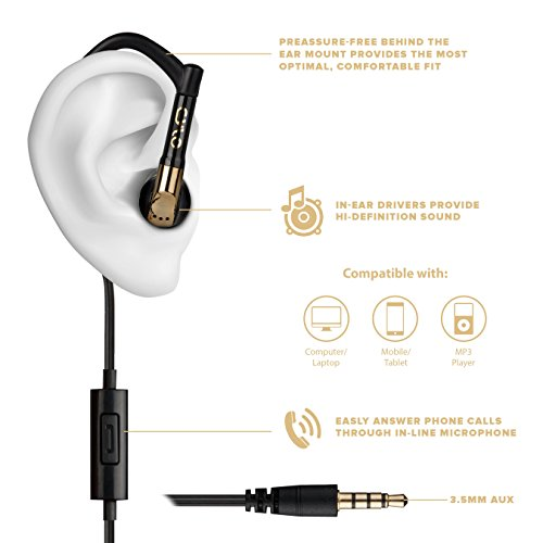 e7e4f7e6647 CYLO Sport Chic Wired In-Ear, Over-Ear, Earbuds/Earphones/Headphones,  Secure Ergonomic Fit for Running, Stylish Fashion Design with In-Line  Microphone and ...